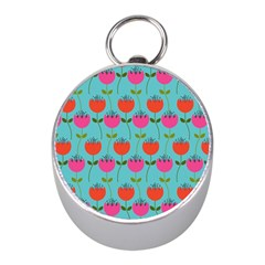 Tulips Floral Background Pattern Mini Silver Compasses