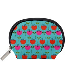Tulips Floral Background Pattern Accessory Pouches (Small)