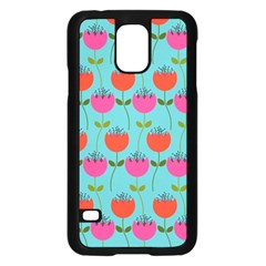 Tulips Floral Background Pattern Samsung Galaxy S5 Case (black)