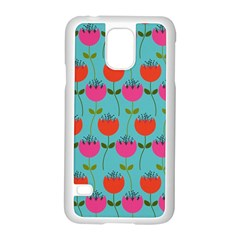 Tulips Floral Background Pattern Samsung Galaxy S5 Case (White)