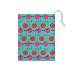 Tulips Floral Background Pattern Drawstring Pouches (Medium)