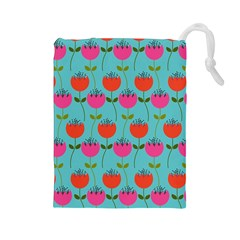 Tulips Floral Background Pattern Drawstring Pouches (large)