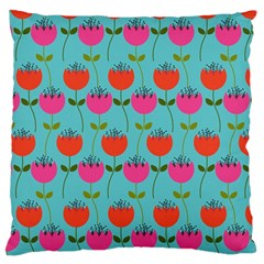 Tulips Floral Background Pattern Large Flano Cushion Case (One Side)
