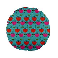 Tulips Floral Background Pattern Standard 15  Premium Flano Round Cushions