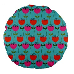 Tulips Floral Background Pattern Large 18  Premium Flano Round Cushions