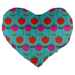 Tulips Floral Background Pattern Large 19  Premium Flano Heart Shape Cushions