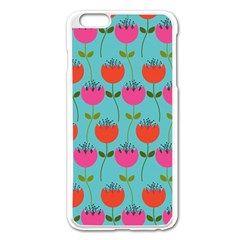 Tulips Floral Background Pattern Apple iPhone 6 Plus/6S Plus Enamel White Case
