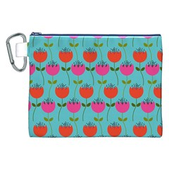 Tulips Floral Background Pattern Canvas Cosmetic Bag (XXL)