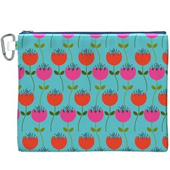 Tulips Floral Background Pattern Canvas Cosmetic Bag (XXXL)