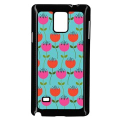 Tulips Floral Background Pattern Samsung Galaxy Note 4 Case (black)