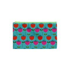 Tulips Floral Background Pattern Cosmetic Bag (XS)
