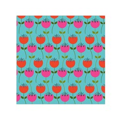 Tulips Floral Background Pattern Small Satin Scarf (Square)