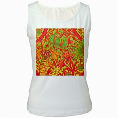 Floral pattern Women s White Tank Top