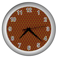 Lunares Pattern Circle Abstract Pattern Background Wall Clocks (silver)
