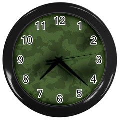 Vintage Camouflage Military Swatch Old Army Background Wall Clocks (black)