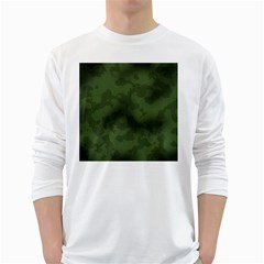 Vintage Camouflage Military Swatch Old Army Background White Long Sleeve T Shirts