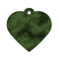 Vintage Camouflage Military Swatch Old Army Background Dog Tag Heart (two Sides)