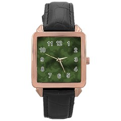 Vintage Camouflage Military Swatch Old Army Background Rose Gold Leather Watch