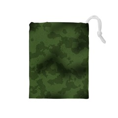 Vintage Camouflage Military Swatch Old Army Background Drawstring Pouches (Medium)