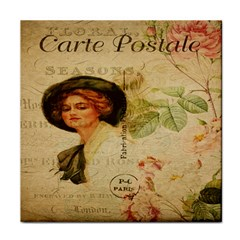 Lady On Vintage Postcard Vintage Floral French Postcard With Face Of Glamorous Woman Illustration Tile Coasters