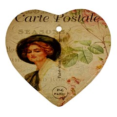 Lady On Vintage Postcard Vintage Floral French Postcard With Face Of Glamorous Woman Illustration Ornament (Heart)