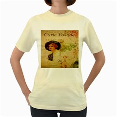 Lady On Vintage Postcard Vintage Floral French Postcard With Face Of Glamorous Woman Illustration Women s Yellow T Shirt