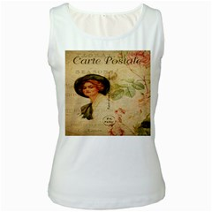 Lady On Vintage Postcard Vintage Floral French Postcard With Face Of Glamorous Woman Illustration Women s White Tank Top