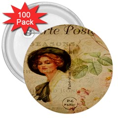 Lady On Vintage Postcard Vintage Floral French Postcard With Face Of Glamorous Woman Illustration 3  Buttons (100 Pack)