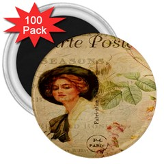Lady On Vintage Postcard Vintage Floral French Postcard With Face Of Glamorous Woman Illustration 3  Magnets (100 Pack)