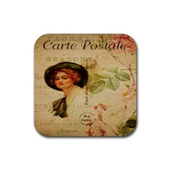 Lady On Vintage Postcard Vintage Floral French Postcard With Face Of Glamorous Woman Illustration Rubber Coaster (square)