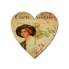 Lady On Vintage Postcard Vintage Floral French Postcard With Face Of Glamorous Woman Illustration Heart Magnet