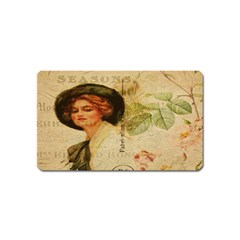 Lady On Vintage Postcard Vintage Floral French Postcard With Face Of Glamorous Woman Illustration Magnet (Name Card)