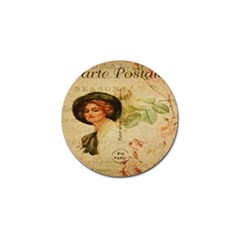 Lady On Vintage Postcard Vintage Floral French Postcard With Face Of Glamorous Woman Illustration Golf Ball Marker (4 Pack)