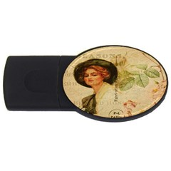 Lady On Vintage Postcard Vintage Floral French Postcard With Face Of Glamorous Woman Illustration Usb Flash Drive Oval (2 Gb)