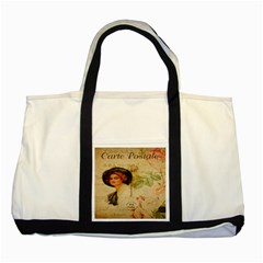 Lady On Vintage Postcard Vintage Floral French Postcard With Face Of Glamorous Woman Illustration Two Tone Tote Bag