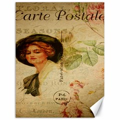 Lady On Vintage Postcard Vintage Floral French Postcard With Face Of Glamorous Woman Illustration Canvas 18  x 24