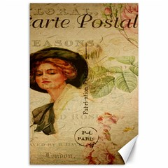 Lady On Vintage Postcard Vintage Floral French Postcard With Face Of Glamorous Woman Illustration Canvas 24  X 36