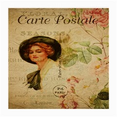 Lady On Vintage Postcard Vintage Floral French Postcard With Face Of Glamorous Woman Illustration Medium Glasses Cloth
