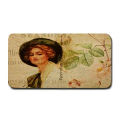 Lady On Vintage Postcard Vintage Floral French Postcard With Face Of Glamorous Woman Illustration Medium Bar Mats