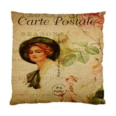 Lady On Vintage Postcard Vintage Floral French Postcard With Face Of Glamorous Woman Illustration Standard Cushion Case (one Side)