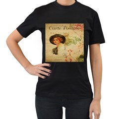 Lady On Vintage Postcard Vintage Floral French Postcard With Face Of Glamorous Woman Illustration Women s T Shirt (black)