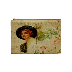 Lady On Vintage Postcard Vintage Floral French Postcard With Face Of Glamorous Woman Illustration Cosmetic Bag (medium)