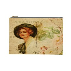 Lady On Vintage Postcard Vintage Floral French Postcard With Face Of Glamorous Woman Illustration Cosmetic Bag (Large)
