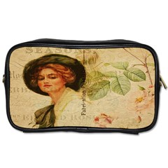 Lady On Vintage Postcard Vintage Floral French Postcard With Face Of Glamorous Woman Illustration Toiletries Bags 2 Side