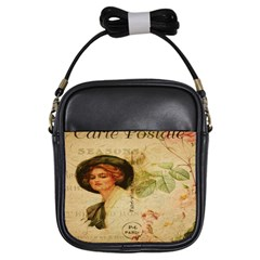Lady On Vintage Postcard Vintage Floral French Postcard With Face Of Glamorous Woman Illustration Girls Sling Bags