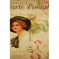 Lady On Vintage Postcard Vintage Floral French Postcard With Face Of Glamorous Woman Illustration 5 5  X 8 5  Notebooks