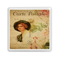 Lady On Vintage Postcard Vintage Floral French Postcard With Face Of Glamorous Woman Illustration Memory Card Reader (square)