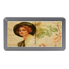 Lady On Vintage Postcard Vintage Floral French Postcard With Face Of Glamorous Woman Illustration Memory Card Reader (mini)