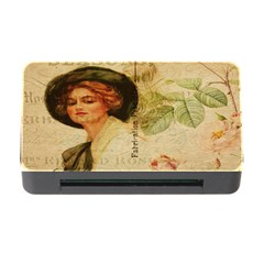Lady On Vintage Postcard Vintage Floral French Postcard With Face Of Glamorous Woman Illustration Memory Card Reader with CF