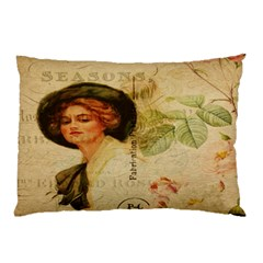 Lady On Vintage Postcard Vintage Floral French Postcard With Face Of Glamorous Woman Illustration Pillow Case (Two Sides)